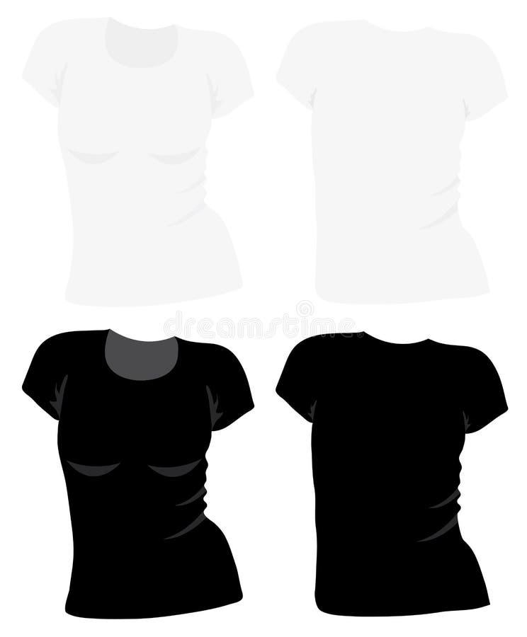 modelo de la camiseta de las mujeres del vector stock de ilustración