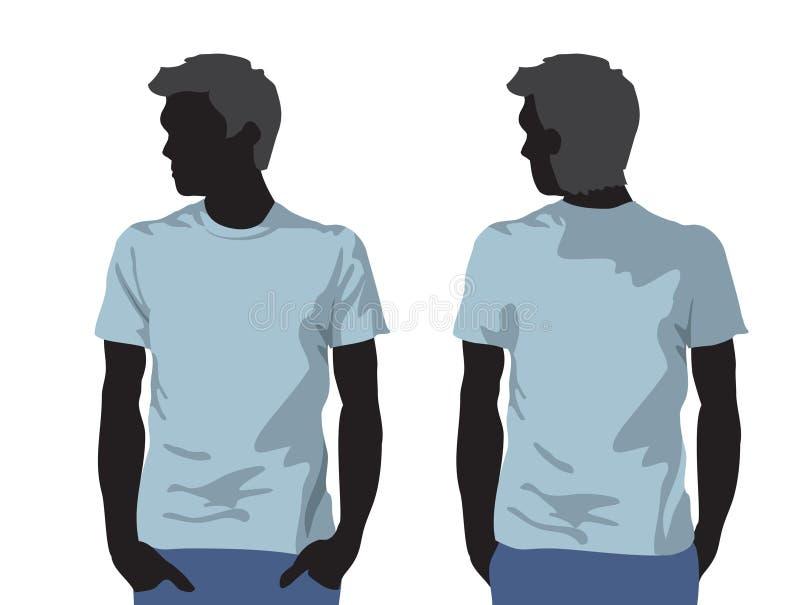 Modelo de la camiseta de los hombres con la silueta del cuerpo humano libre illustration