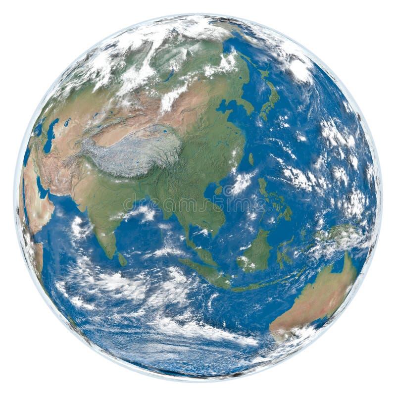 Modelo de la cara Asia de la tierra ilustración del vector