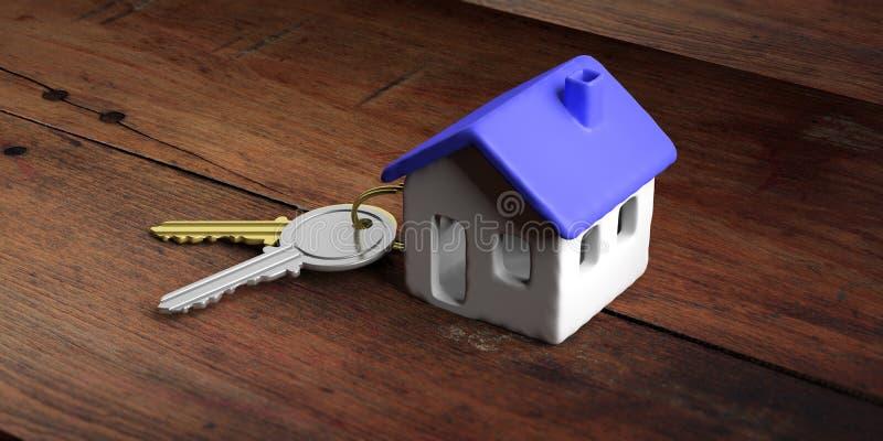 Modelo de la casa con el tejado azul y llaves en un escritorio de oficina de madera ilustración 3D stock de ilustración