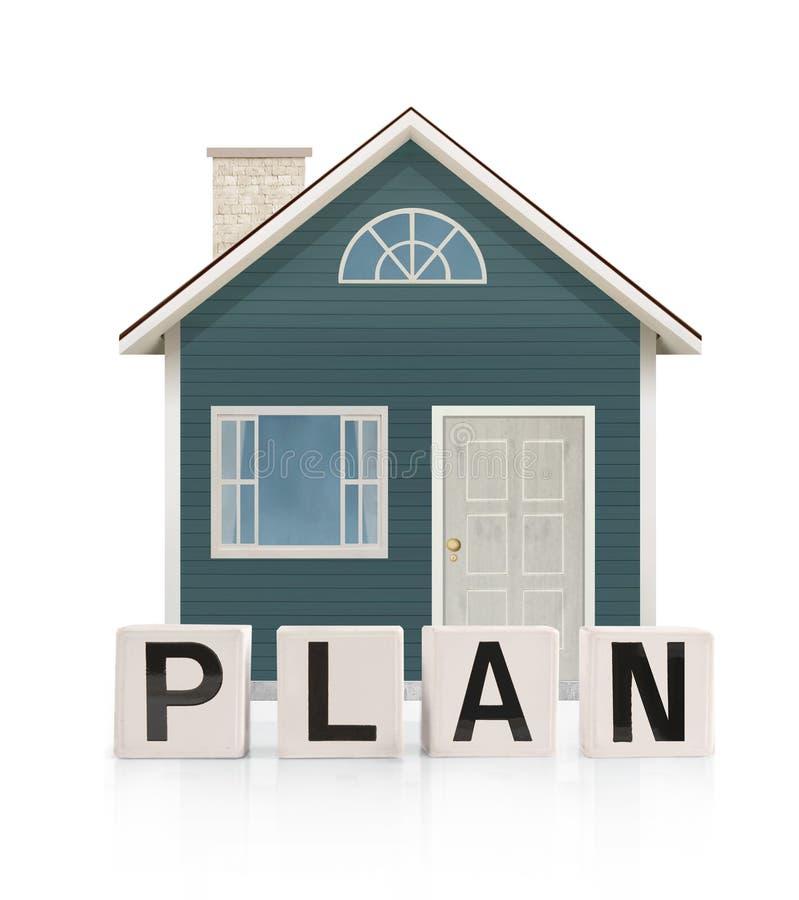Modelo de la casa en blanco un fondo con el frente de la palabra fotos de archivo libres de regalías