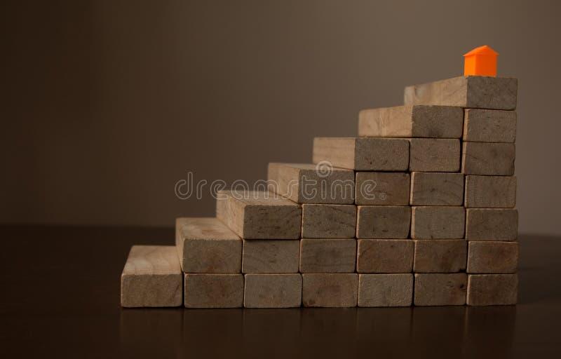Modelo de la casa en el aumento de madera apilado imagen de archivo