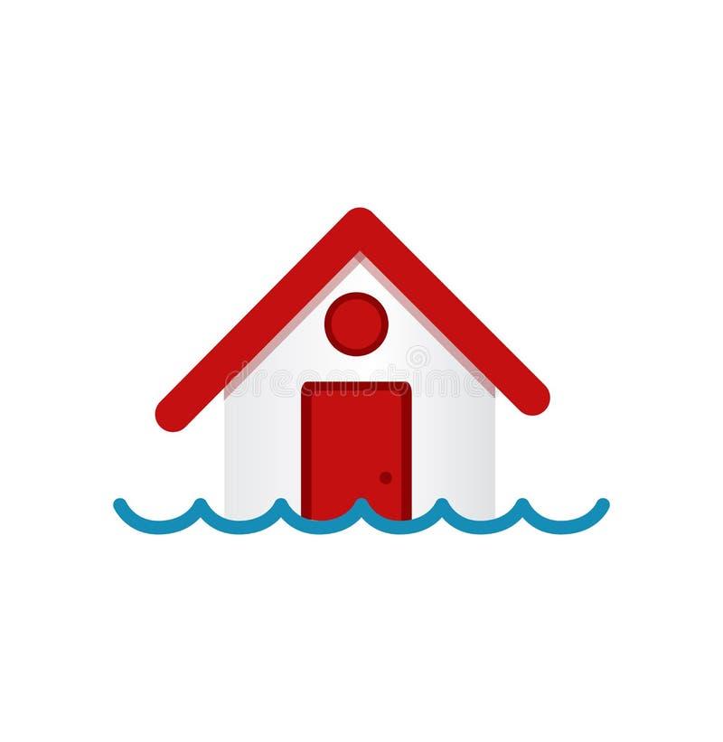 Modelo de la casa sumergido debajo del agua stock de ilustración