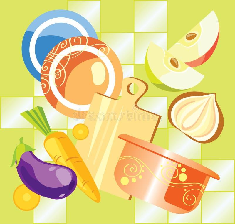 Modelo de la cocina stock de ilustración
