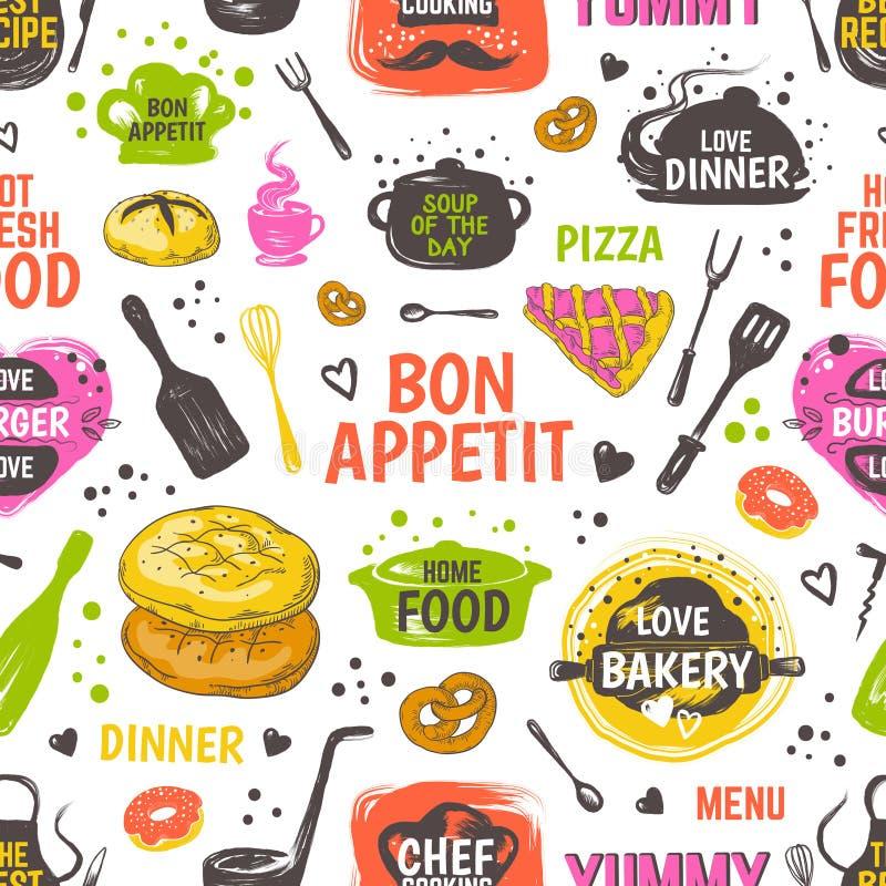 Modelo de la comida del garabato Fondo inconsútil del menú, restaurante de la mano del vector y cartel exhaustos del café con  stock de ilustración