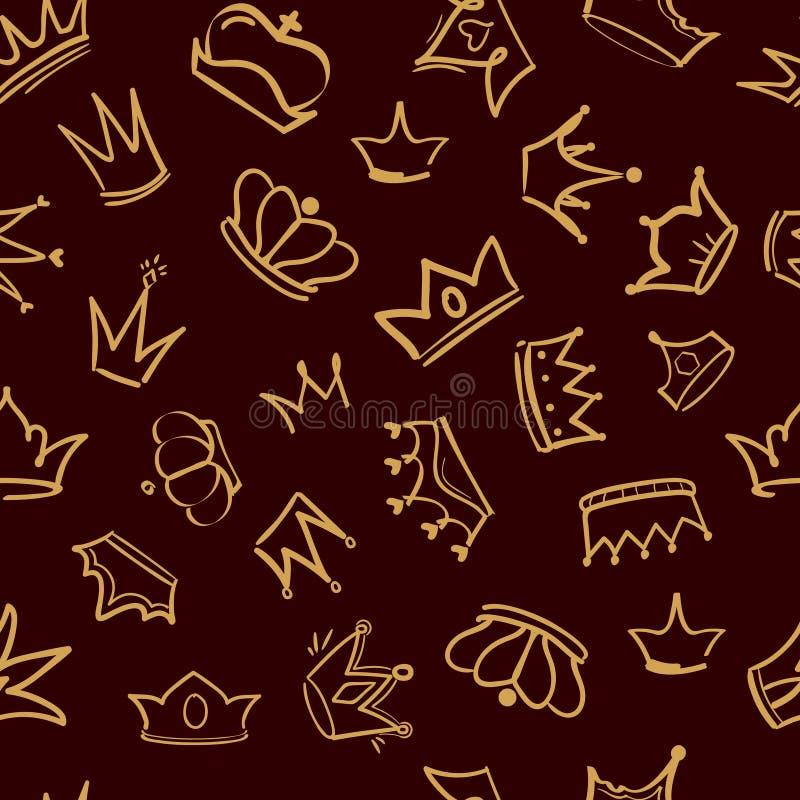 Modelo de la corona El diseño del vector de la materia textil de rey de oro de la diadema corona el fondo inconsútil exhausto de  libre illustration