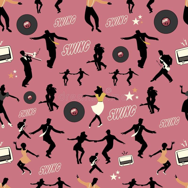 Modelo de la danza del oscilación Bailarines y músicos Estilo retro stock de ilustración