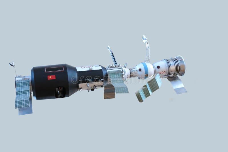 Modelo de la estación orbital soviética, nave espacial Soyuz imagen de archivo