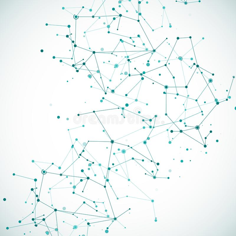 Modelo de la estructura molecular o atómica del nodo de la complejidad Marco complejo de arsenal de los datos grandes poligonales ilustración del vector