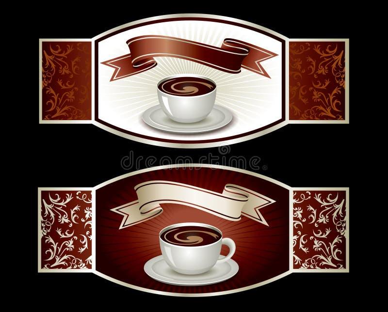 Modelo de la etiqueta engomada con café stock de ilustración