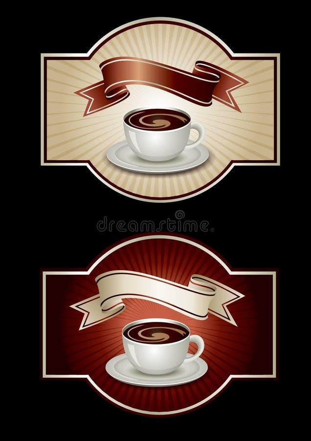 Modelo de la etiqueta engomada con café libre illustration