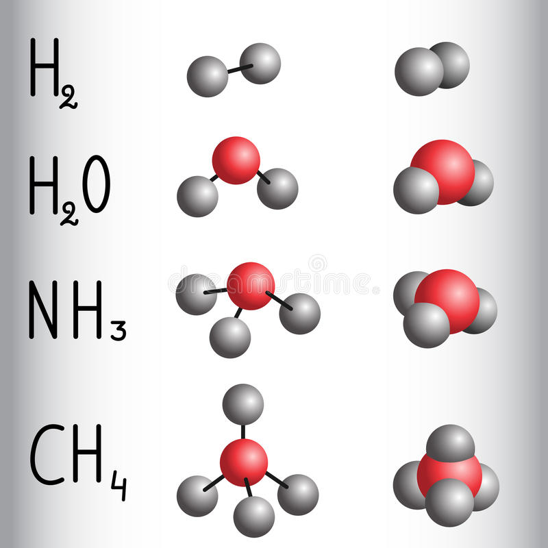 Modelo de la fórmula química y de la molécula del hidrógeno, agua, ammoni libre illustration