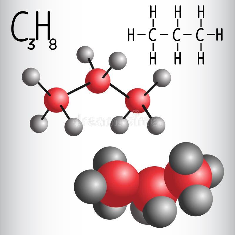 Modelo de la fórmula química y de la molécula del propano C3H8 imágenes de archivo libres de regalías