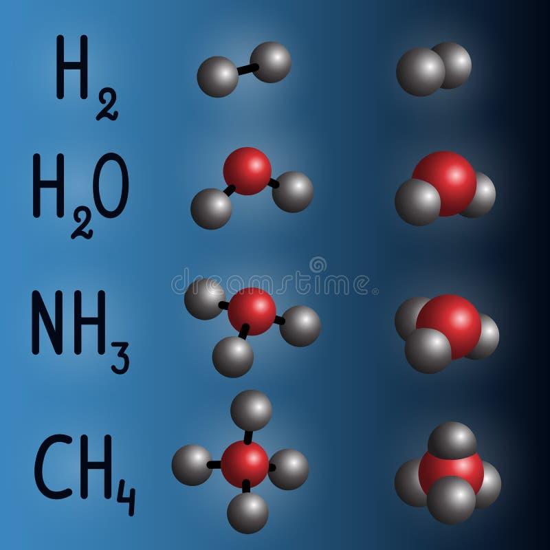 Modelo de la fórmula química y de la molécula del hidrógeno, agua, ammoni stock de ilustración