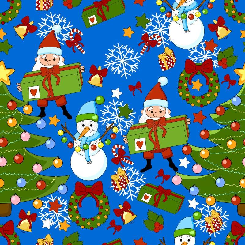 Modelo de la Feliz Año Nuevo con Santa Claus, el árbol de navidad, los regalos, la campana, la guirnalda, las estrellas y el muñe ilustración del vector