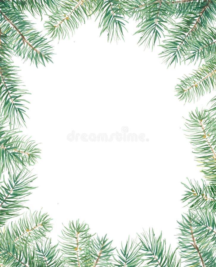 Modelo de la Feliz Navidad con la frontera del abeto Ejemplo handdrawn de la acuarela aislado en blanco ilustración del vector