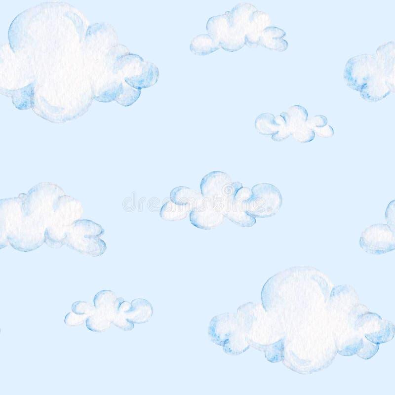 Modelo de la fiesta de bienvenida al bebé de la acuarela Nubes azules Para el diseño, la impresión o el fondo libre illustration
