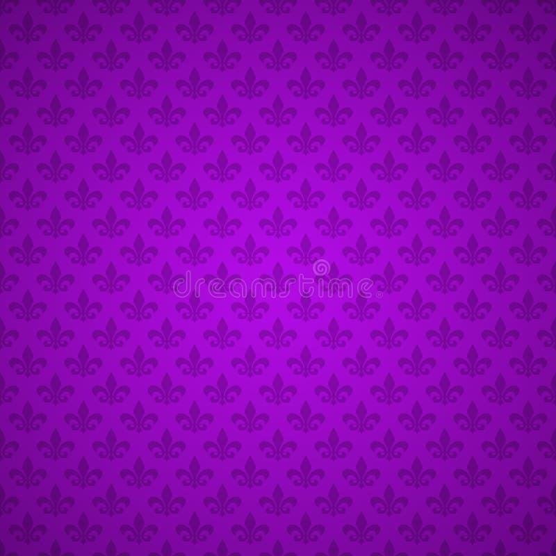 Modelo de la flor de lis Fondo, textura Lirio heráldico púrpura Mardi Gras Carnival Modelo inconsútil Vector stock de ilustración