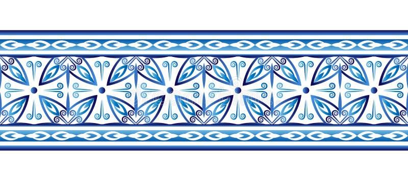 Modelo de la frontera de la baldosa cerámica Adornos islámicos, indios, árabes Modelo inconsútil de la frontera del damasco Fondo libre illustration