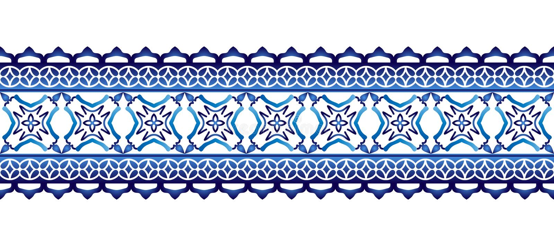 Modelo de la frontera de la baldosa cerámica Adornos islámicos, indios, árabes Modelo inconsútil de la frontera del damasco Fondo ilustración del vector