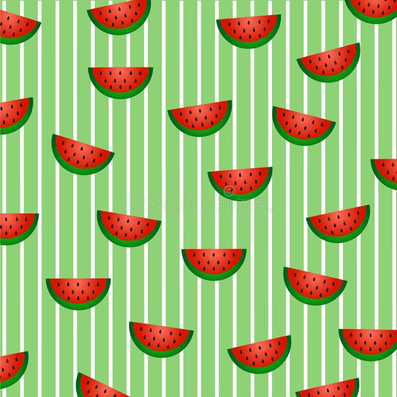 Modelo de la fruta del verano: rebanadas de sandía con pulpa roja, la cáscara verde y las semillas negras foto de archivo