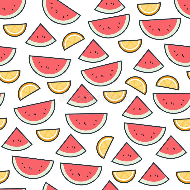 Modelo de la fruta de la sandía en blanco Fondo inconsútil de la fruta cítrica hermosa brillante Ejemplo del vector en plano ilustración del vector