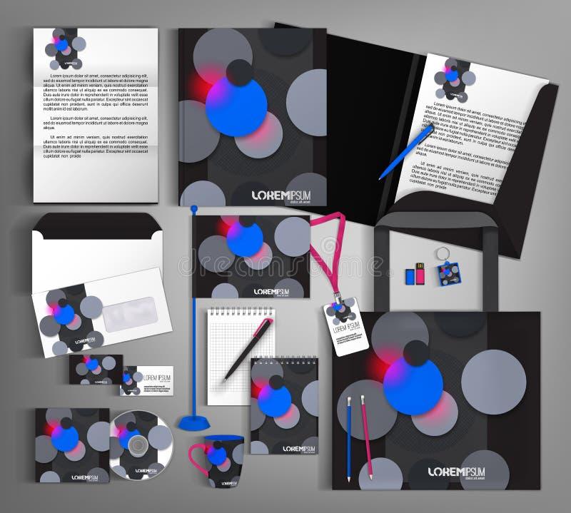 Modelo de la identidad corporativa Fije con los círculos grises y azules stock de ilustración