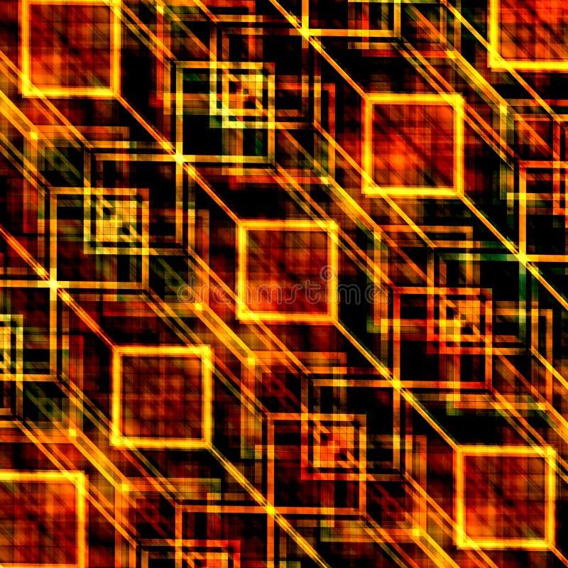 Modelo de la imagen de fondo Diseño geométrico moderno Composición cuadrada Tema anaranjado del color Papel pintado generado extr ilustración del vector