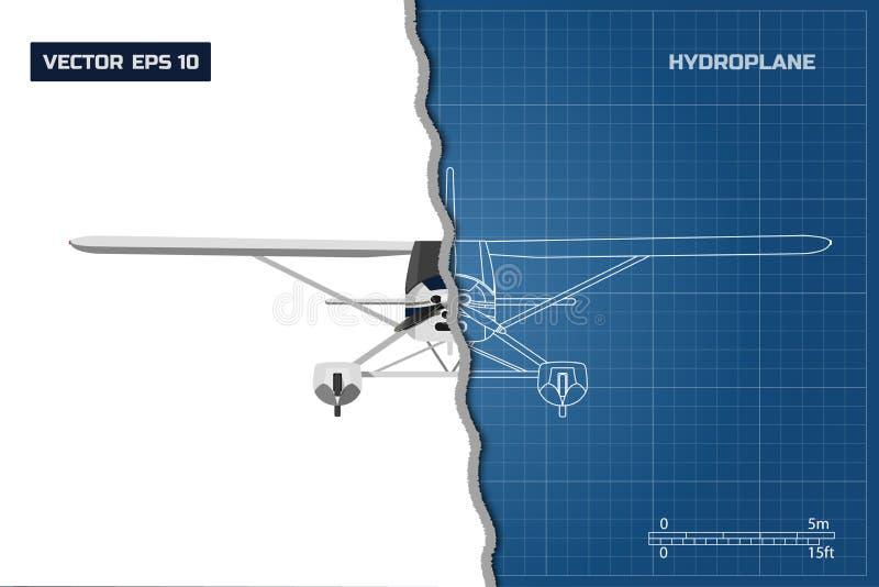 Modelo de la ingeniería del avión Vista superior del hidroavión Dibujo industrial de aviones ilustración del vector