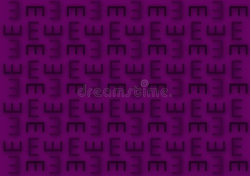 Modelo de la letra E en fondo púrpura del papel pintado de las sombras ilustración del vector