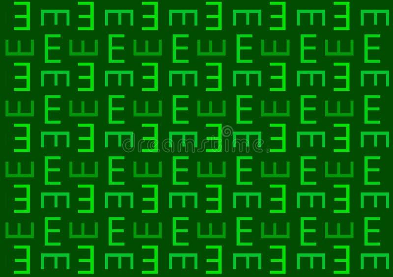 Modelo de la letra E en fondo verde del papel pintado de las sombras ilustración del vector
