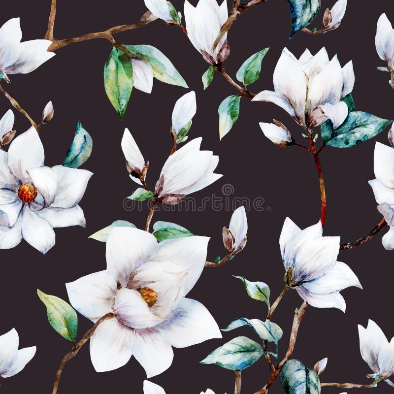 Modelo de la magnolia de la trama de la acuarela stock de ilustración
