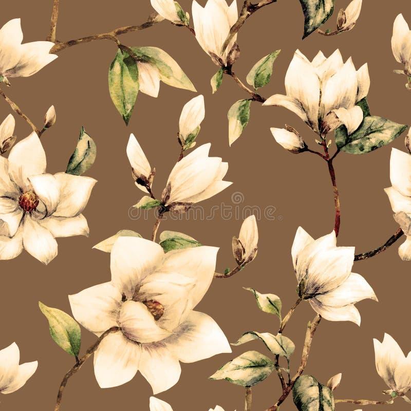 Modelo de la magnolia de la trama de la acuarela ilustración del vector