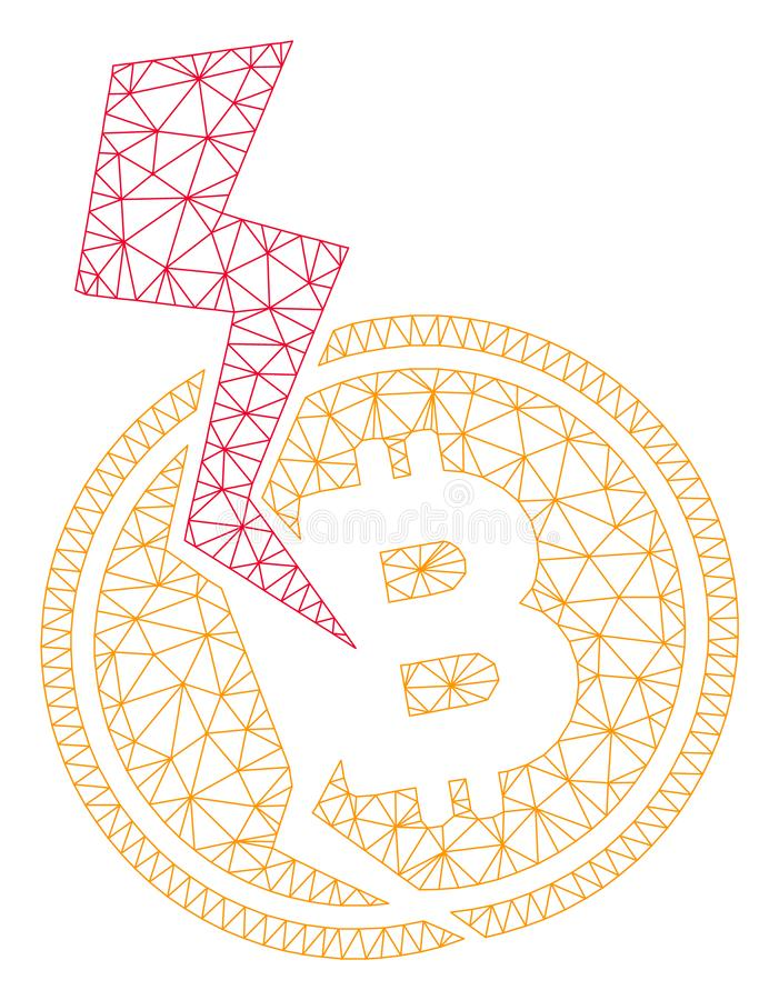 Modelo de la malla del vector del rel?mpago del desplome de Bitcoin 2.o libre illustration