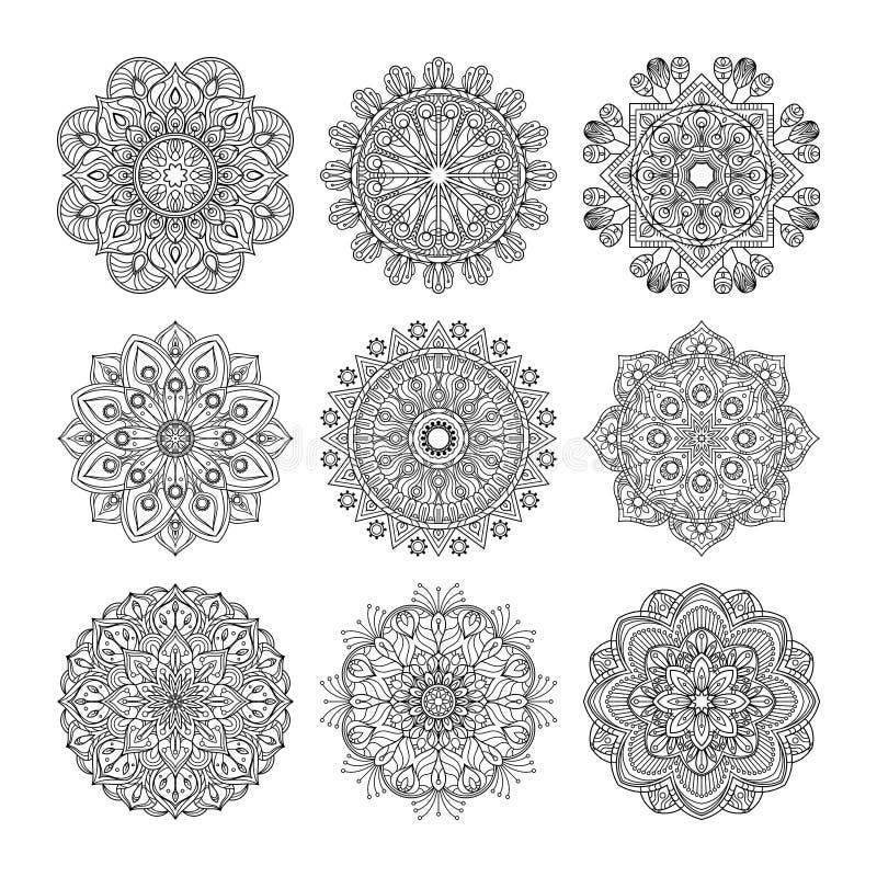 Modelo de la meditación Ejemplo del vector de las mandalas indias fijadas aisladas Concepto de la yoga ilustración del vector
