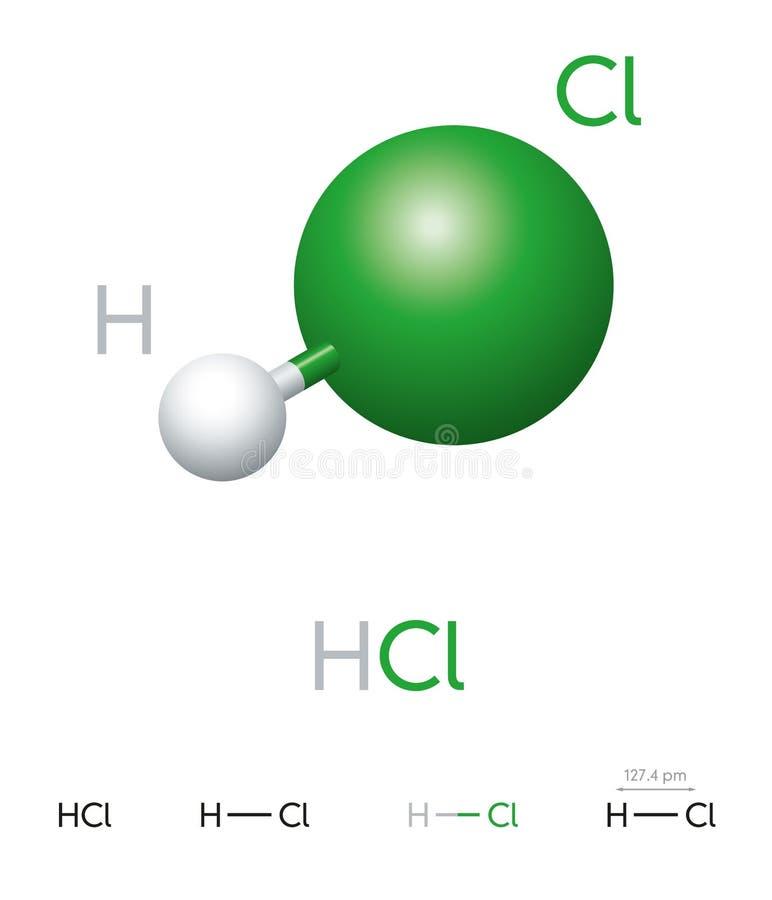 Modelo de la molécula del cloruro de hidrógeno del ácido clorhídrico y fórmula química ilustración del vector