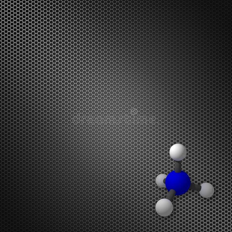 Modelo de la molécula en un fondo de la malla de la pendiente stock de ilustración