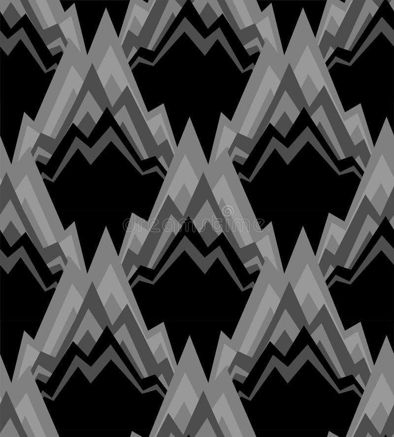 Modelo de la montaña inconsútil Oscila el fondo Ornamento negro de la roca libre illustration
