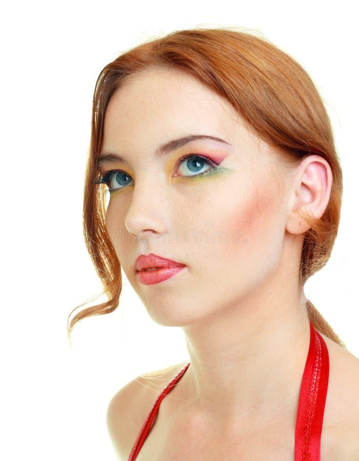 Modelo de la mujer de la manera con maquillaje brillante foto de archivo
