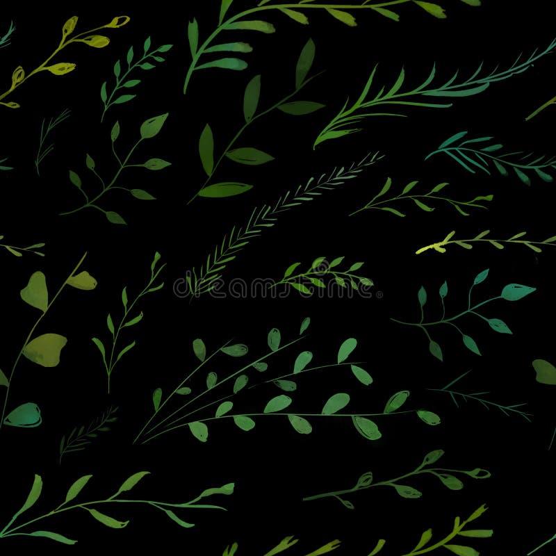 Modelo de la naturaleza con las ramitas, las ramas verdes y las hojas pintadas en fondo oscuro Impresión de moda de la tela del v ilustración del vector