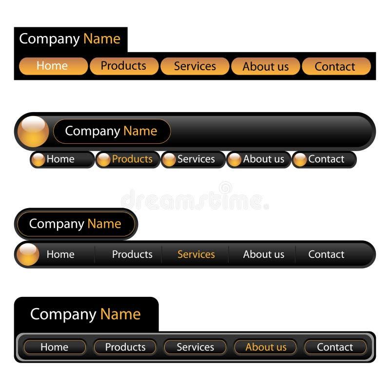 Modelo de la navegación del menú del Web ilustración del vector