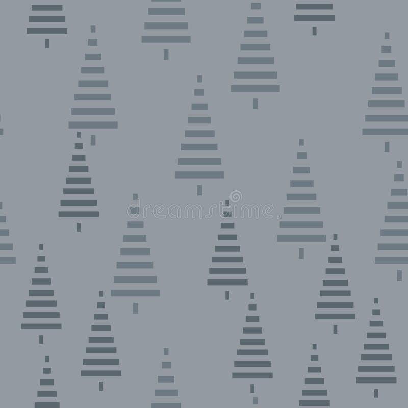 Modelo de la Navidad con los árboles Fondo simple del bosque abstracto del invierno a imprimir en la tela, papel, envoltorio para stock de ilustración