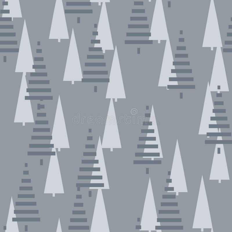 Modelo de la Navidad con los árboles Fondo simple del bosque abstracto del invierno a imprimir en la tela, papel, envoltorio para libre illustration