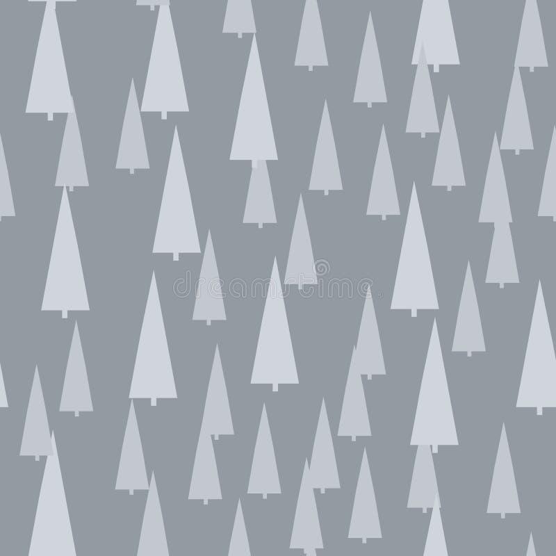 Modelo de la Navidad con los árboles Fondo simple del bosque abstracto del invierno a imprimir en la tela, papel, envoltorio para ilustración del vector