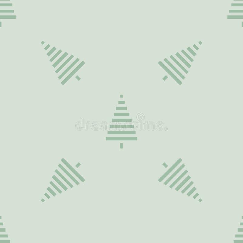 Modelo de la Navidad con los árboles Simple, ejemplo inconsútil del vector del fondo del invierno stock de ilustración