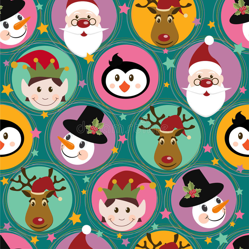 Modelo de la Navidad con Santa, ciervo, pingüino, duende y libre illustration