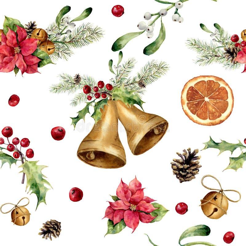 Modelo de la Navidad de la acuarela con la decoración clásica Ornamento del árbol del Año Nuevo con la campana, acebo, muérdago,  libre illustration