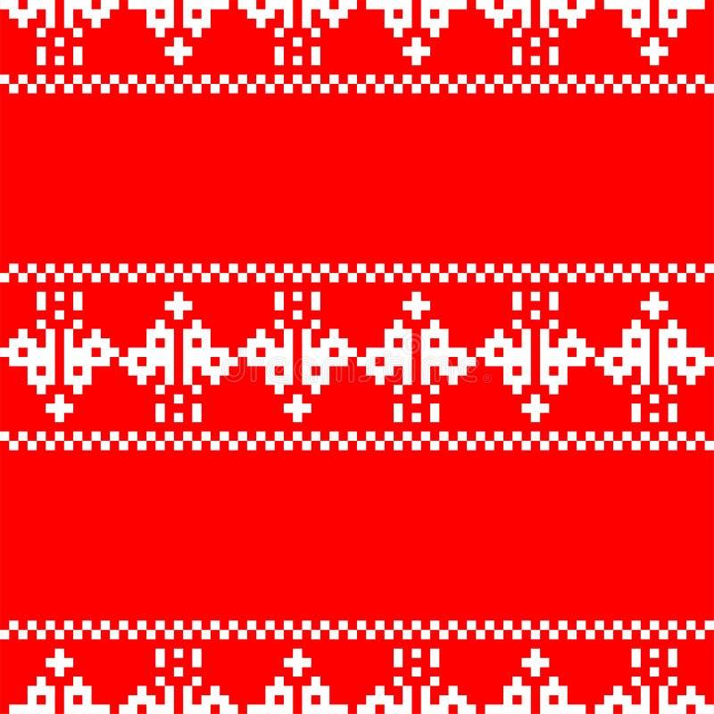 Modelo de la Navidad del bordado del pixel inconsútil CCB del vector del Año Nuevo libre illustration