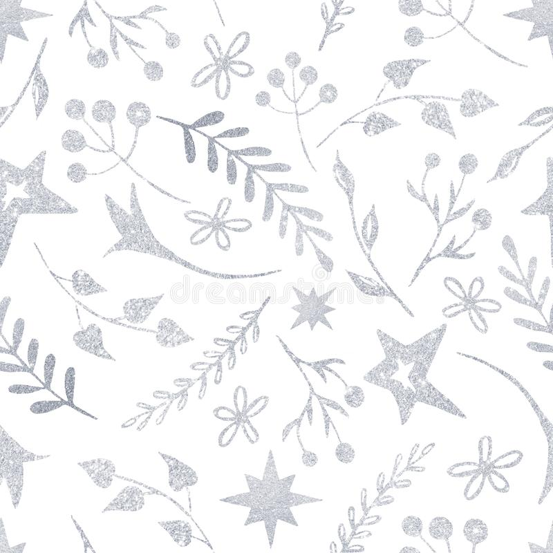 Modelo de la Navidad del invierno con las siluetas blancas y de plata de los copos de nieve, bayas, hojas, ramas, muñeco de nieve libre illustration