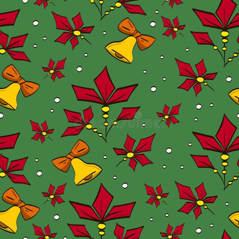 Modelo de la Navidad del vector con las campanas y las poinsetias Utilizado para las tarjetas de felicitación, papel, papel pinta imagen de archivo